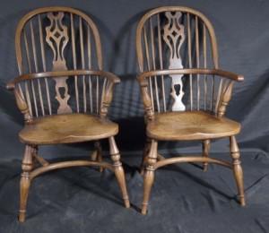 Paire Mini enfants Windsor rustique Chaise Chaises antique