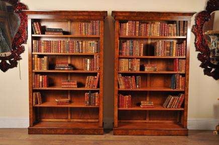 Paire Noyer victorienne Bibliothèques Case Open Book