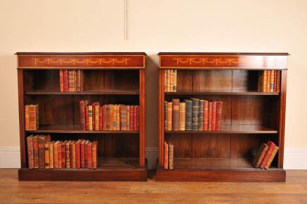 Paire Ouvrir Sheraton Regency en acajou Bibliothèques Bibliothèque