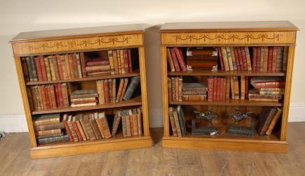 Paire Satinwood Regency Bas Ouverture Bibliothèques Open Front