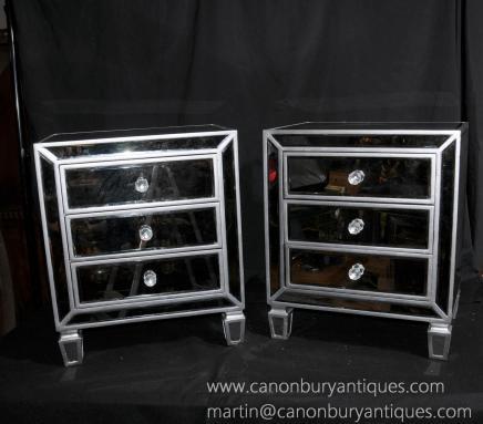 Paire déco miroir de chevet Commodes Tables de chevet Miroirs Mobilier