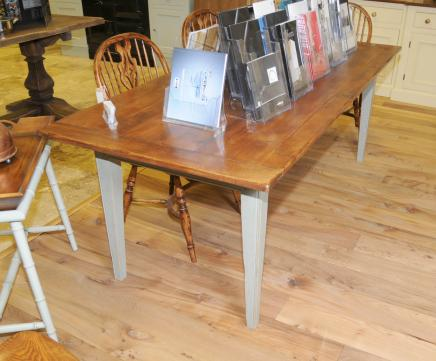 Peint Oak Country Kitchen Réfectoire Dining Table