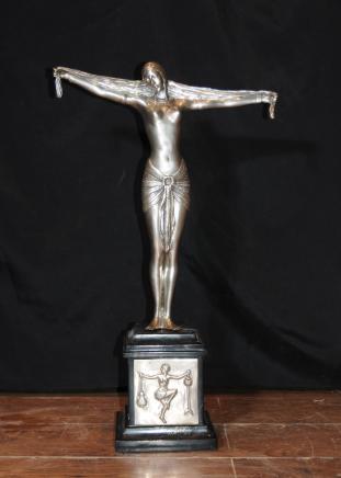 Plaque Argent Bronze Art Déco Statue Figurine