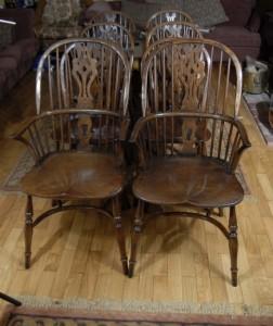 Réglez 8 Anglais Ferme Windsor Chaise