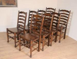 Réglez 8 Oak Ladderback chaises de cuisine Chaise Ferme Meubles