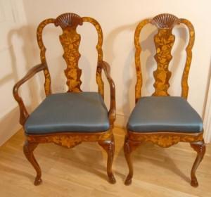 Réglez 8 anglais Queen Anne incrustation de marqueterie Chaise