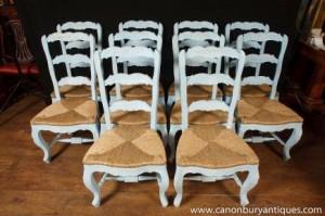 Réglez 8 peints français Ladderback Chaise chaise de cuisine en chêne