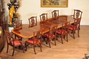 Regency Dining Set Guéridon et 10 Chippendale Chaises Suite Acajou
