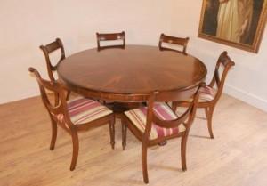 Regency Ensemble repas de table et acajou ronde Chaises Butin
