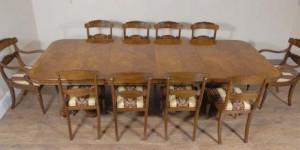 Regency Noyer Table à manger & 10 William IV Chaises Ensemble