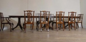 Regency Triple Guéridon Set 10 Chippendale Chaises Ensemble