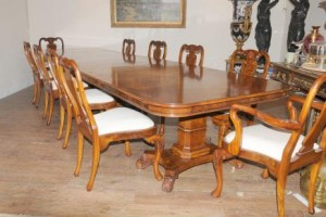 Regency Walnut Dining Set Queen Anne Chaises Table