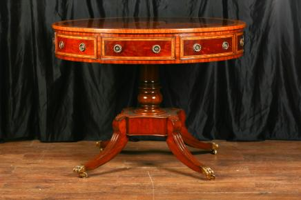 Regency en acajou Inlay Centre tambour Table Tables à manger