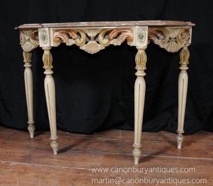 Rococo italien peint Console Salle Table Tables Meubles
