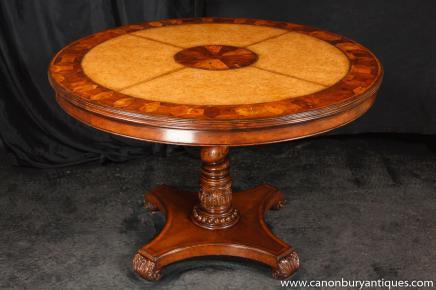 Ronde Centre Regency Dining Table Oyster et tableaux en cuir