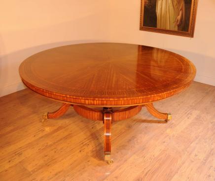 Satinwood Regency rond Centre de table de salle à manger Tables de marqueterie meubles