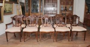 Set 10 Regency Sheraton Chaise acajou meubles