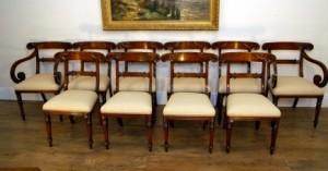 Set 10 Regency acajou sculpté Chaise à dîner Sièges président