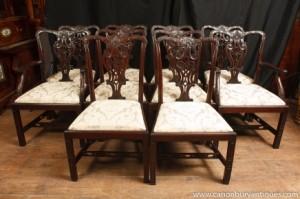 Set 10 acajou victorienne Chaise gothique président Diner