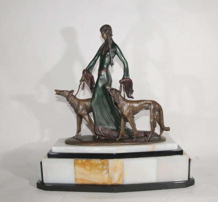 Signé Poertzel Art Déco Bronze aristocrates Barzoï Chiens Figurine