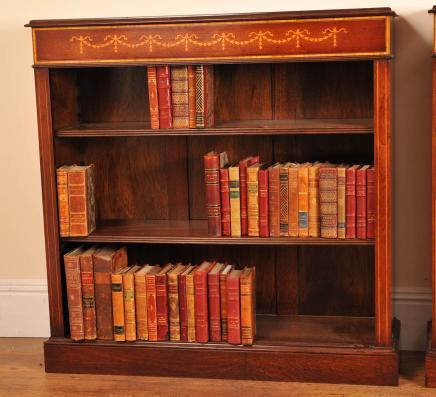 Simple Sheraton Regency Bibliothèque ouverte avant basse Bibliothèques