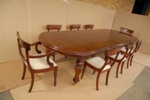Table à manger victorienne Set William IV Chaises Suite