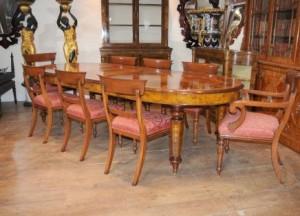 Table de salle à manger victorienne William IV Chaises Ensemble de noix