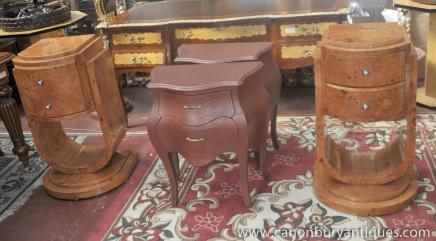 Tables de chevet Art Déco en noyer poitrine de chevet tiroirs