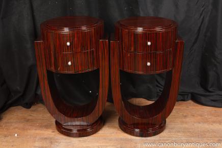 Tables de chevet paire Art Déco des années 1920 coffres de chevet