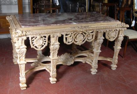 Tables français Louis XV doré Table console
