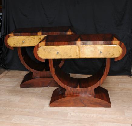 Tables paire Art Déco des années 1920 console Salle tableau Blonde Noyer