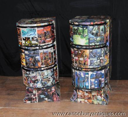 Tables paire Deco Comic Imprimer chevet chevet poitrine tiroirs