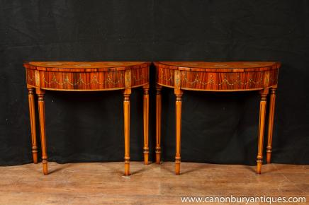 Tables paire Regency Adams Demi Lune Console Peintes Satinwood
