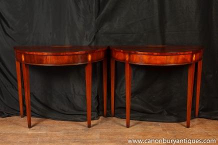 Tables paire flamme Acajou Demi Lune Console Regency tableau