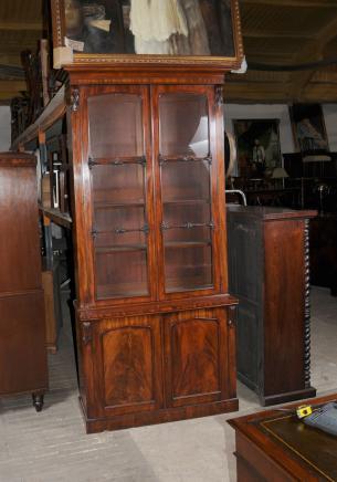 William IV acajou vitrées Bibliothèque Bibliothèques Cabinet Meubles