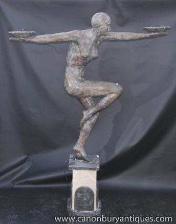 XL Art Déco Bronze Clarte Biba Figurine Statue architectural