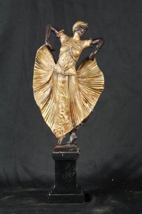 1920 Art Deco Bronze Chiparus Statue Figurine Signé