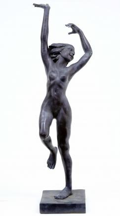 6,5 pi Art Nouveau français Bronze Danse Figurine Fille