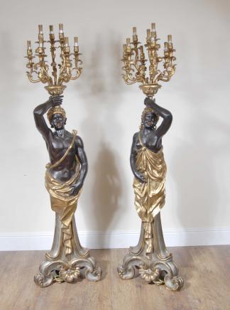 7 Maures ft italien Nègre Catyrids Candélabres Statue