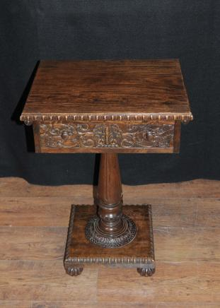 Antique sculpté birman Side salle Table en bois