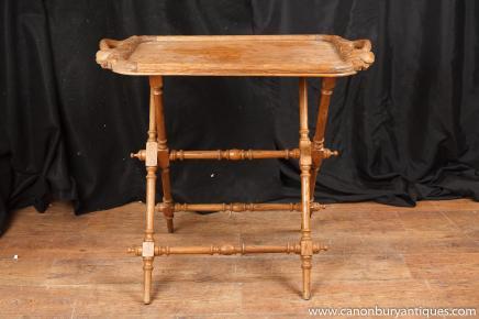 Antiquités Arts et métiers en bois découpé de bac sur le Stand Table d'appoint