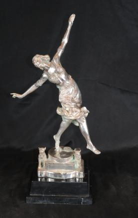 Argent Bronze Art déco français Dog Dancer Figurine