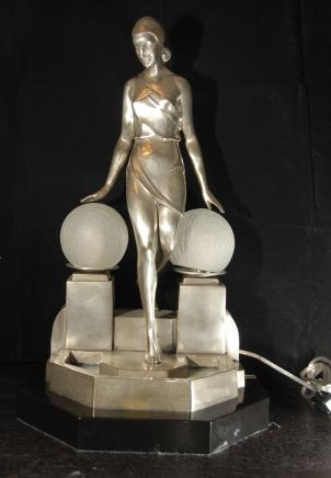 Argent Bronze Déco Biba Lampe Statue Figurine
