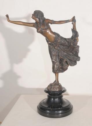 Art Déco Bronze Crimée Dancer Figurine Signé Colinet français