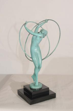 Art Déco Bronze Figurine 1920 Femme Hoop Dancer