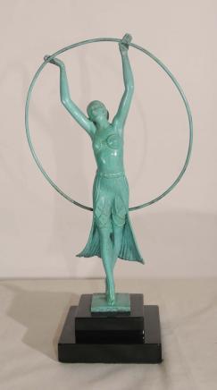 Art Déco Bronze Hoop Statue Fille par Charles Sykes 1920