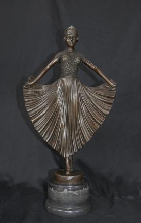 Art Déco Bronze Signé Chiparus Dancer Figurine