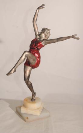 Art Déco Bronze Statue Figurine par Colinet