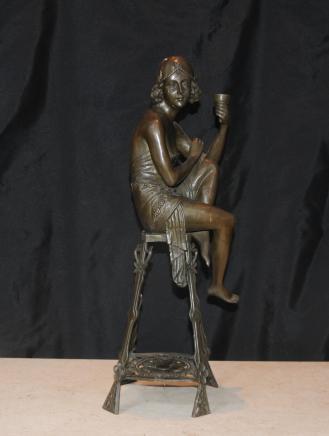Art Déco Bronze Tabouret Fille d'aileron Signé Je Mic français