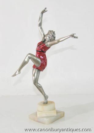Art Déco Danseuse Bronze Figurine par Colinet